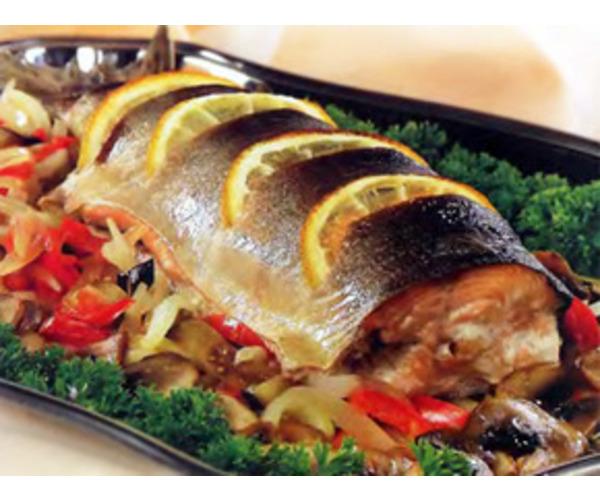 Рецепт                  Рыба с овощами и грибами