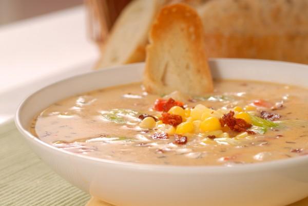 Рецепт                  Сливочный суп с кукурузой и беконом