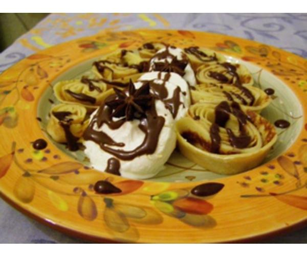Рецепт                  Блинчики с мороженым, в шоколадной глазури