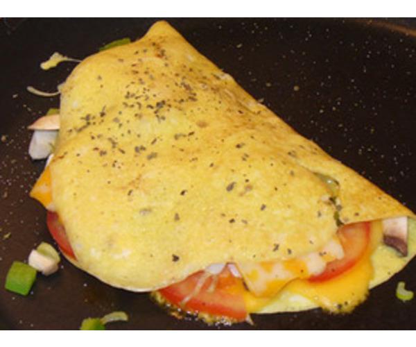 Рецепт                  Омлет с грибами, помидорами и сыром