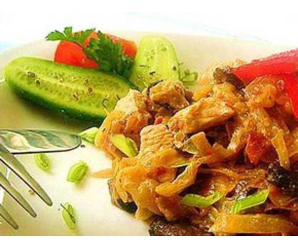 Рецепт                  Капуста с грибами