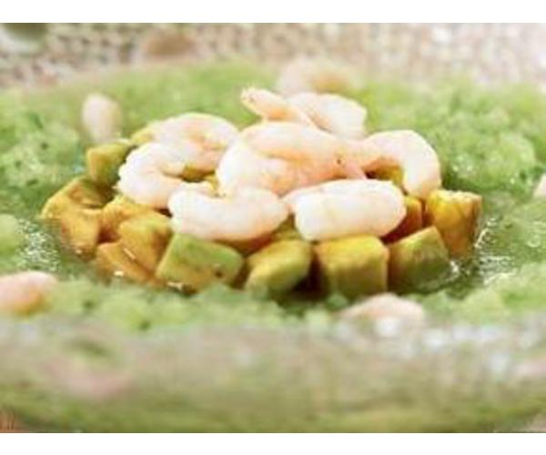 Рецепт                  Авокадо с огуречным кремом и креветками