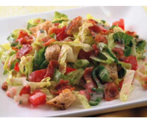 Рецепт                  Салат с беконом, салатом и помидорами