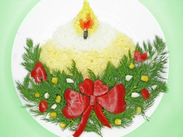 Рецепт                  Новогодние рецепты: Салат Свеча