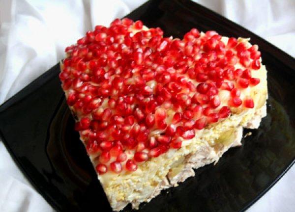 Рецепт                  Салат Гранатовое сердце