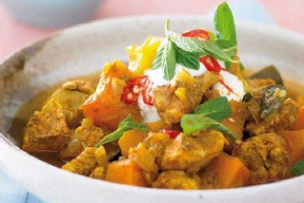 Рецепт                  Курица с грибами и тыквой