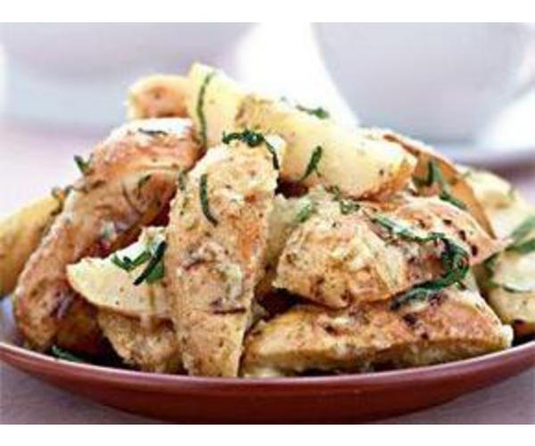 Рецепт                  Запеченный картофель с молодым чесноком и мятой