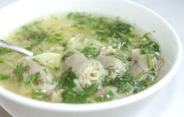 Рецепт                  Суп из куриных сердечек с вермишелью
