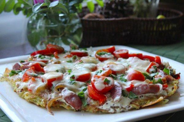 Рецепт                  Картофельная пицца с охотничьими колбасками