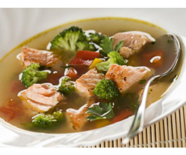 Рецепт                  Суп из лосося с овощами