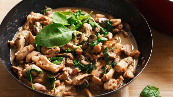 Рецепт                  Тушеная курица с грибами и сливками