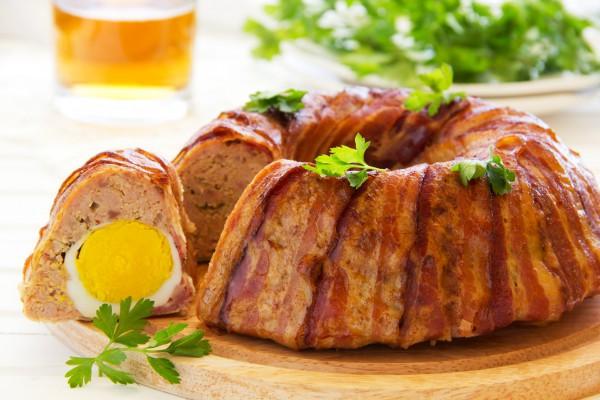Рецепт                  Пасхальный мясной хлебец в беконе