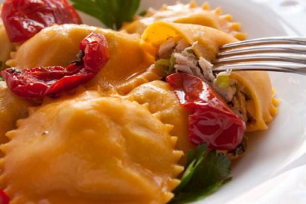 Рецепт                  Равиоли из тыквенного теста с курицей