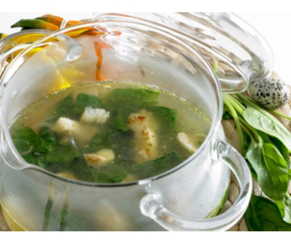 Рецепт                  Суп со шпинатом и белой рыбой