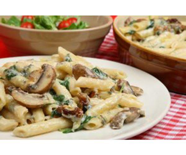 Рецепт                  Ригатони с грибами