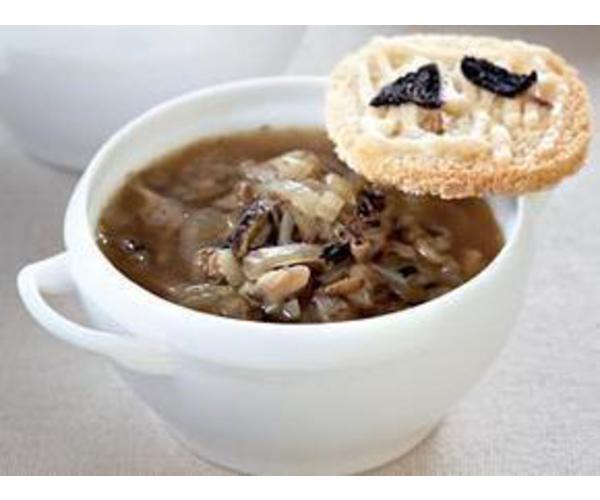 Рецепт                  Луковый суп со сморчками и сырными гренками