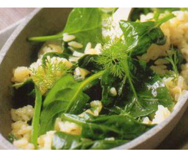 Рецепт                  Шпинат с рисом и укропом
