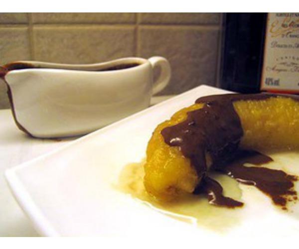 Рецепт                  Банан на гриле с шоколадным соусом