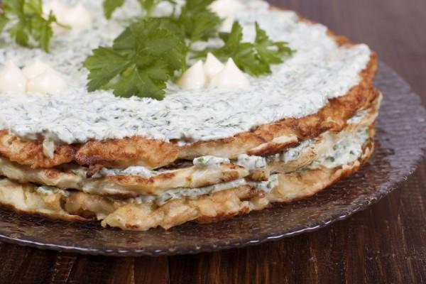 Рецепт                  Кабачковый торт с зеленью