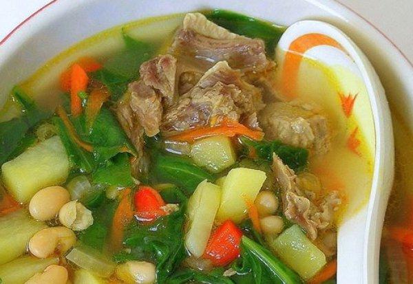 Рецепт                  Мясной суп с фасолью и шпинатом