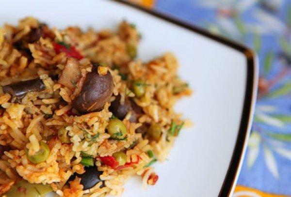 Рецепт                  Овощи с рисом и маслинами