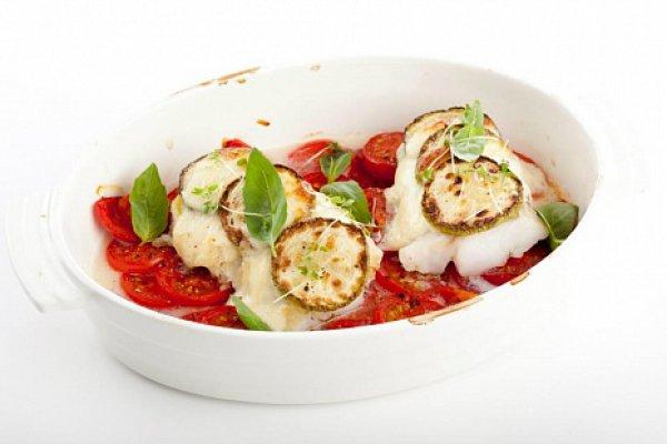 Рецепт                  Запеченная рыба с кабачками, помидорами и сыром