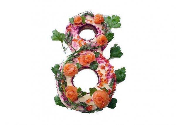 Рецепт                  Праздничный салат к 8 марта