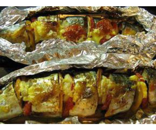 Рецепт                  Рыба запеченная с овощами в фольге