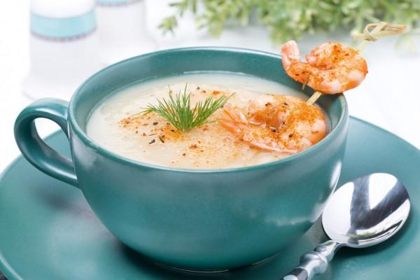 Рецепт                  Рыбный крем-суп с креветками
