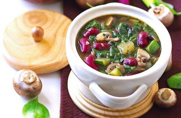 Рецепт                  Грибной суп с красной фасолью и шпинатом