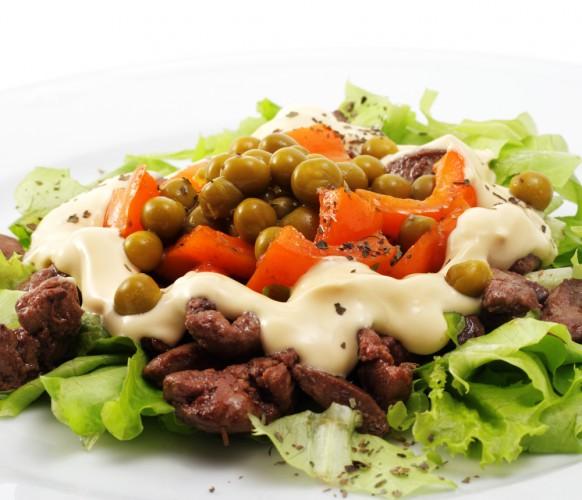 Рецепт                  Салат из печени с зеленым горошком