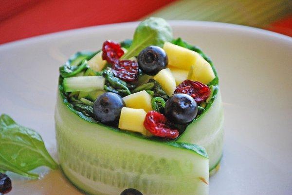 Рецепт                  Весенний салат из шпината с манго