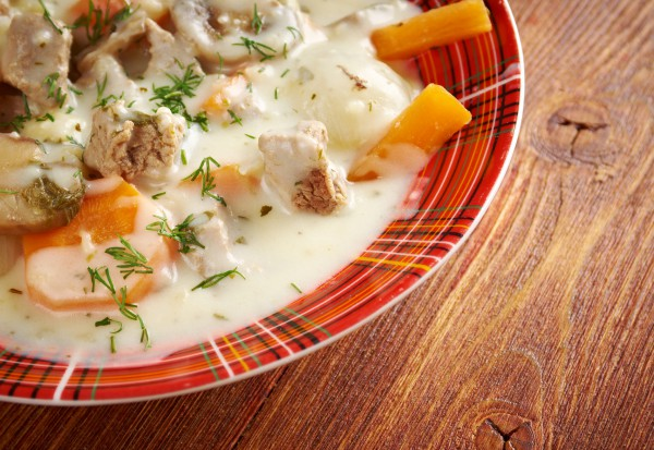 Рецепт                  Тушеное мясо с шампиньонами и сливками
