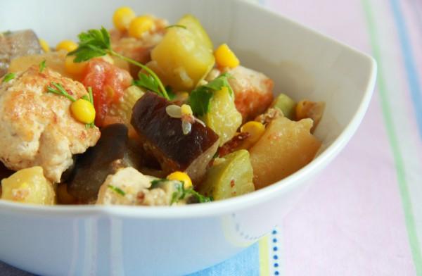 Рецепт                  Овощное рагу с куриными фрикадельками