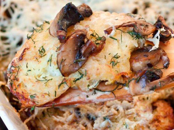 Рецепт                  Драники запеченные с грибами
