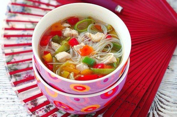 Рецепт                  Куриный суп с рисовой лапшой и овощами
