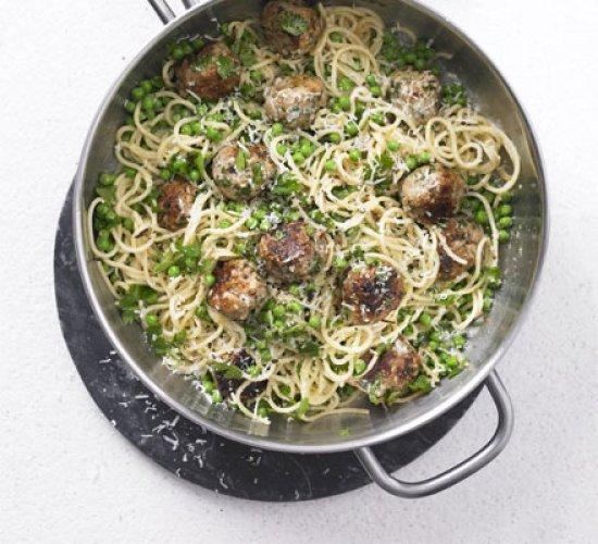 Рецепт                  Спагетти с фрикадельками и сыром