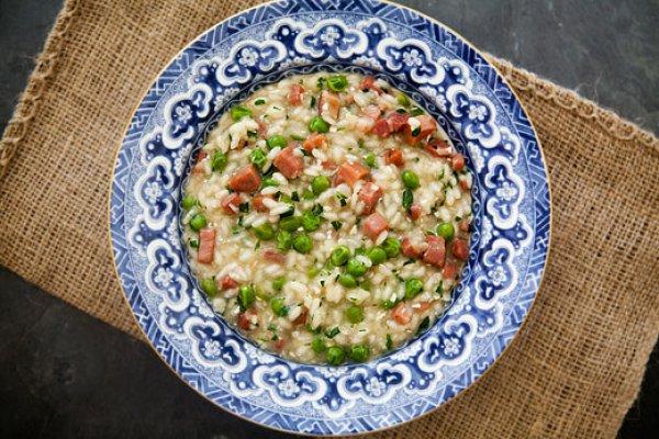 Рецепт                  Рис с зеленым горошком и ветчиной