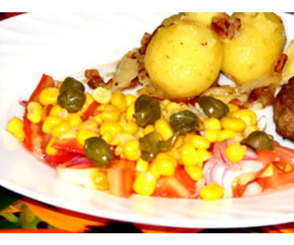 Рецепт                  Салат с каперсами и кукурузой