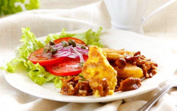Рецепт                  Полента с лисичками и сыром