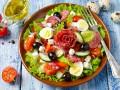 Праздничный салат из овощей с салями