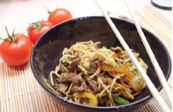 Рецепт                  Говядина с лапшой в кисло-сладком соусе