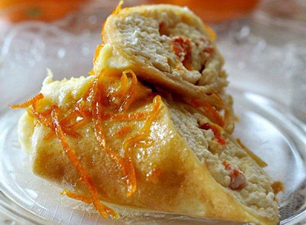 Рецепт                  Блинчики с творогом под апельсиновым соусом