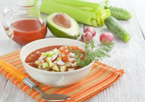 Рецепт                  Холодный томатный суп с овощами