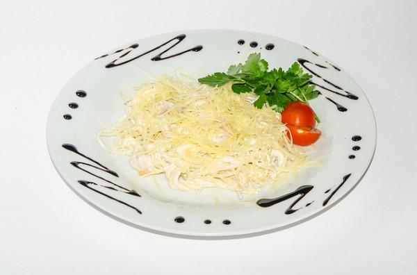 Рецепт                  Спагетти с креветочно-чесночным соусом