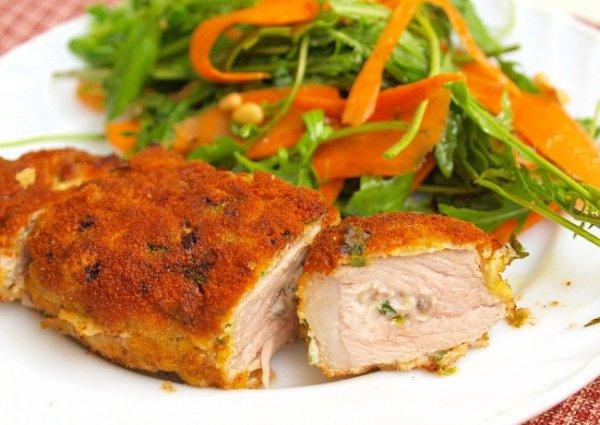 Рецепт                  Свиные отбивные с грибной начинкой