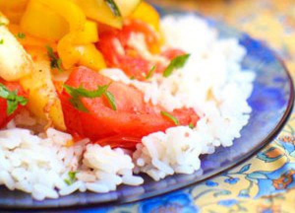 Рецепт                  Рис с овощами и сливочным сыром