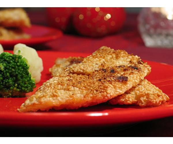 Рецепт                  Рыба с кунжутом, овощами и сырным соусом