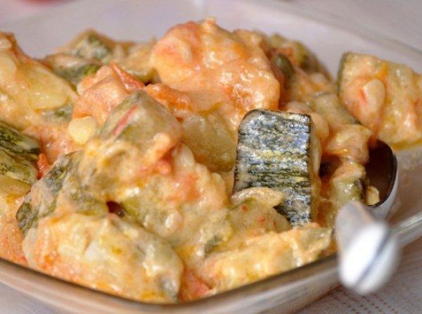 Рецепт                  Тушеные кабачки с помидорами