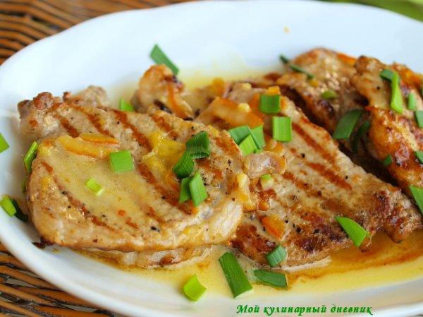 Рецепт                  Свиные отбивные под апельсиновым соусом